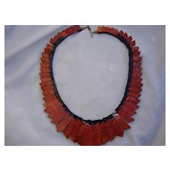 Black & Coral Resin Collar Necklace/ Sign ID?