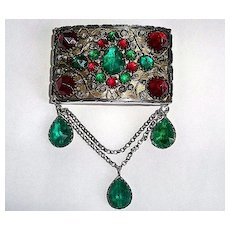 Antique Silver Brooch w Red & Green Rhinestones & Fancy wire work