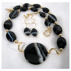 Black & White Banded Onyx Necklace Earrings Gold Filled Set Deco Style