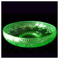 "Cambridge Green Depression Glass Console Centerpiece Bowl 9.5"" Windows Border etch #704"