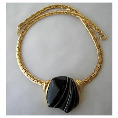 Vintage Trifari Necklace Gold-tone and Black