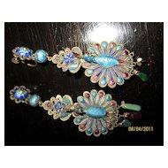 Antique Art Nouveau? Peacock & gem stone 3D Earrings