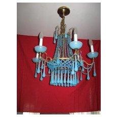 Sky blue hand blown glass chandelier, light fixture, cast iron, vintage antique??????