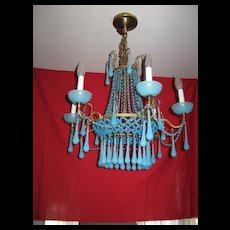 Sky blue hand blown glass chandelier, light fixture, cast iron, vintage antique??????
