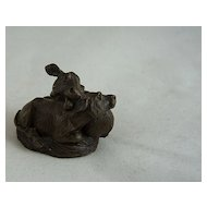 Small Japanese Bronze Affectionate Cows - Scroll Weight?