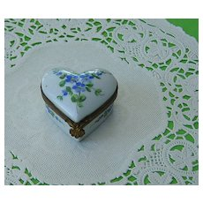 Vintage Heart Shaped Porcelain Trinket Box