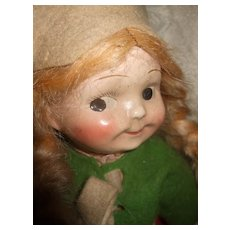 Googly Eye Impish Grin Composition & Cloth Doll