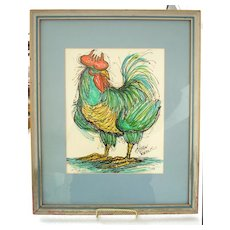 Rooster Watercolor Painting by Kristin S