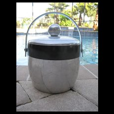 Vintage silver colored and black ice bucket
