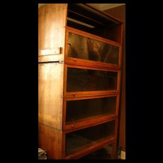 "Antique wood and glass bookcases 94"" high X 48"" long"