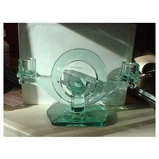 Aqua glass candlestick