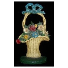 Old CAST IRON Door Stop SHABBY Flower Basket Great for Cottage-Style Decor