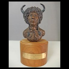 "1984 Virginia Taylor Bronze Sculpture "" Buffalo Warrior"""