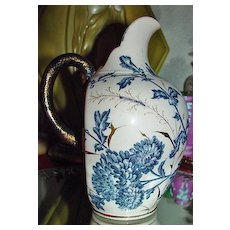 Blue Transferware Wine Pitcher Possibly German