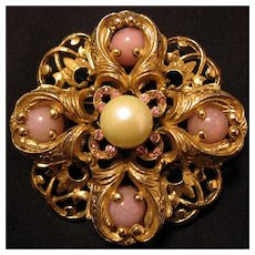 Pin Brooch Simulated Pearl Rhinestones Marbleized Glass