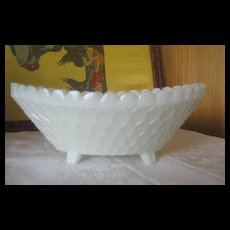 Opaque Glass Bowl - Footed - Maker Unknown