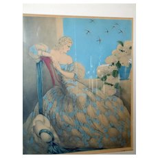 Two Louis Icart Etchings Symphony In Blue & Girl In Crinoline