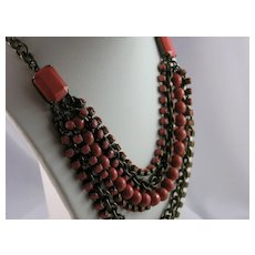 Coral Glass Bead Seven Strand Bib and Brass Necklace - Possibly Czech