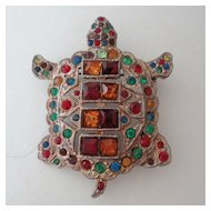 Figural Turtle Pin ~ Art Deco ~ Rhinestone