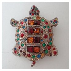 Figural Turtle Pin ~ Art Deco ~ Rhinestone