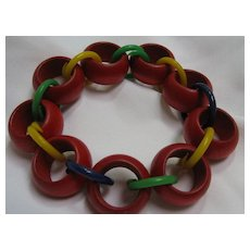 Bracelet wooden and plastic links