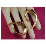 CORO Heavily Polished gold Tone Hoop Runway Very RARE Earrings