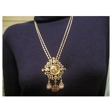 Vintage Gold Plated Double Chain Goddess Medallion Charm Necklace Monet