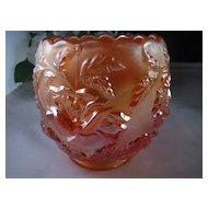 Vintage Iridescent Pumpkin Marigold Carnival Molded Glass Vase