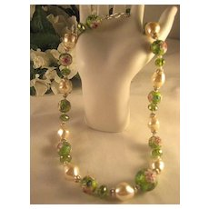 Wedding Cake Peridot Green Glass Bead Necklace Baroque Pearl