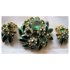 Juliana ? Rare ? Green Stone with Black Pin and Earrings Demi