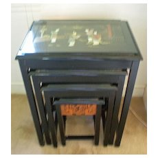 Set of 4 Nesting Tables Asian Themed