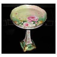 Limoges France Gold Rose Floral Dish w/ Pedestal Base Elite Works