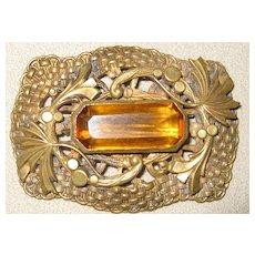 Topaz or Citrine Brass Pin or Brooch