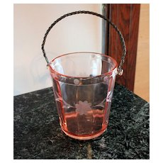 Depression Glass Ice Bucket with Etched Flower