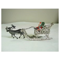Vintage Filigree Soft Metal Christmas Santa & Sleigh
