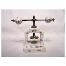Handpainted Porcelain and Metal Press or Vice with German/Bavarian Mark