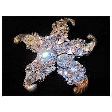 Wonderful Starfish Brooch with Rhinestones