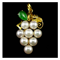 850 Cultured Pearls & Emerald Pendant with Makers Mark