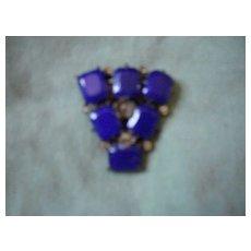 Wonderful antique dress clip, royal blue  lapis chaton stones