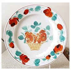 """7"""" Hand Painted Ceramic Plate w/ Unidentified L&C.H. (or B) Mark"""