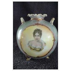 French Opaline Glass Portrait Vase Duchesse de Montpensier 19th century