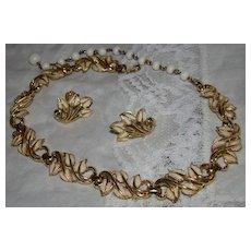 Coro Goldtone & White Enamel Leaf Necklace Demi