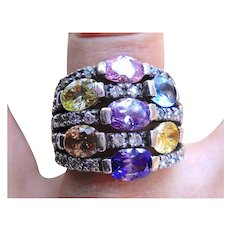 Gorgeous Sterling Silver, Multi-Colored Stone Wide Band Ring