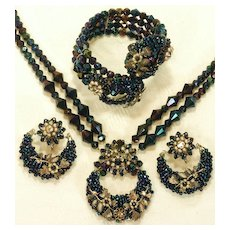 Remarkable 3PC. Carnival Glass Seed Bead Parure