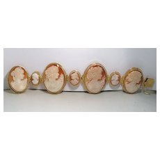Multiple Lady Cameo Hindged Bracelet (18 karat gold""