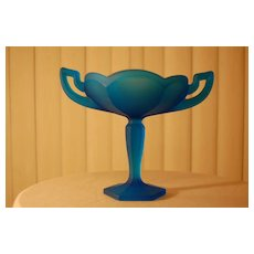 Satin Glass Compote Blue Deco marked WC monogram