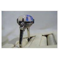 Victorian Moonstone, Platinum & Diamond Ring