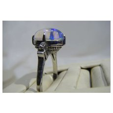 Victorian Moonstone, Platinum & Diamond Ring