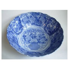 Imari Bowl - Blue and white panels with peonies