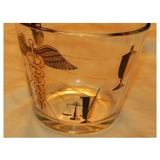 Vintage Glass Ice Bucket Caduceus of Mercury